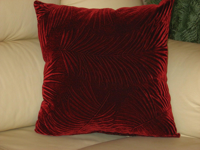 Red Velvet Decorative Pillows : Burgundy dark red velvet handmade throw pillow