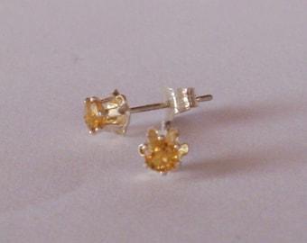 Citrine Earrings  - Gemstone  Stud Earrings Post - Citrin Ohrringe