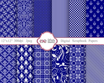 Digital Scrapbooking Navy Paper Pack-INSTANT DOWNLOAD-Digital Paper for Personal or Commercial Use - 12 Sheets - 300 DPI -