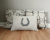 READY TO SHIP- Equestrian Pillow Covers Set of Three- hand-printed horseshoe and snaffle bits- by Red Maple Run