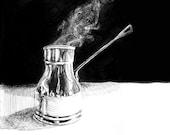 Rakweh Arabic Coffee Pitcher - Black and White Print