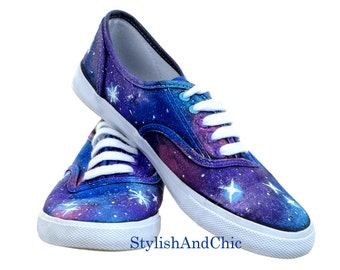 Blue and Purple Galaxy Shoes - Hand Painted