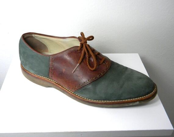 Teal Suede Vintage Men's Oxford Saddle Shoes By