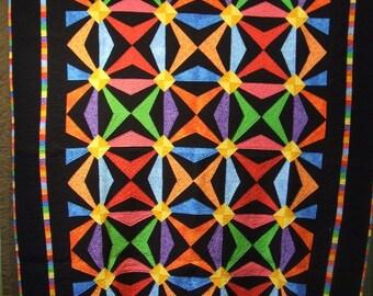 Hand Quilted Jewel Tones Quilt