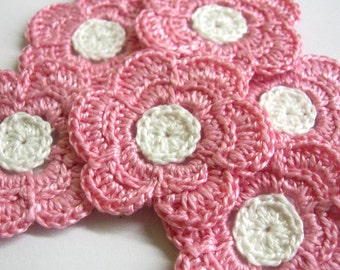 Crochet flower appliques in pale pink and white set of six