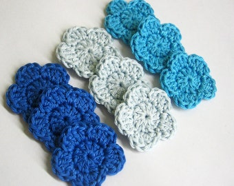 Handmade crocheted cotton flower appliques set of nine blue shades 1,5 inches