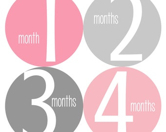 Monthly Baby Stickers, Monthly Bodysuit Stickers, Baby Milestone Stickers - Pink, Grey, Baby Girl, Baby Shower Gift, Grey, Pink