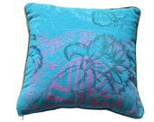 Print turquoise pillow cover shocking colour