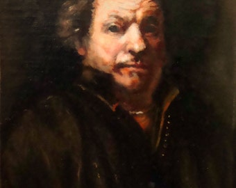 Original Small Oil Painting After Rembrandt