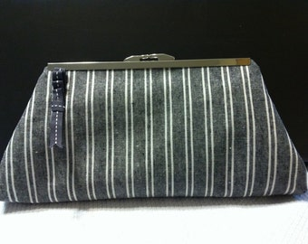 Black and White Striped Clutch