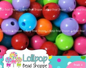 Gumball Beads, 14mm Beads, Chunky Beads, Bubblegum Beads, Acrylic Beads, Gum Ball Beads, Bubble Gum Beads, Plastic Round Bead, Mix Pkg of 20