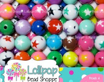 Round STAR Beads 16mm Beads Chunky Beads Acrylic Beads Plastic Round Beads 20 MIX Bubblegum Beads Stars Chunky Necklace Bubble Gum Beads