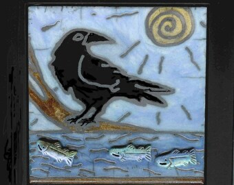 Raven's Vision Framed Raku Tile with fish, Ceramic Tile, Wall Art, Crows, Blackbirds, Alaska