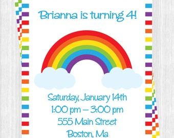 Rainbow Birthday Invitation, Printable ,You Print , Digital File, Diy