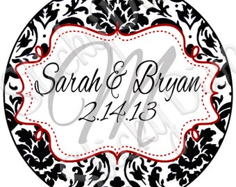 PERSONALIZED WEDDING STICKERS - Elegant Damask Monogrammed Labels - Round Gloss Labels