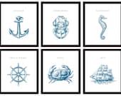 6 Nautical Nursery Decor, ANY color  (Anchor, Seahorse, Scuba Helmet, Crab, Wheel and Ship)