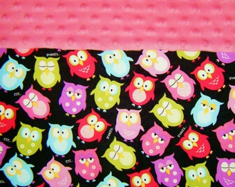 Nap Mat Cover / Toddler Sleeping Cot Cover with Padded Minky Dot Headrest - Night Night Owls