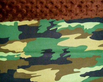 Nap Mat Cover / Toddler Cot Cover with Padded Minky Dot Headrest - Camo