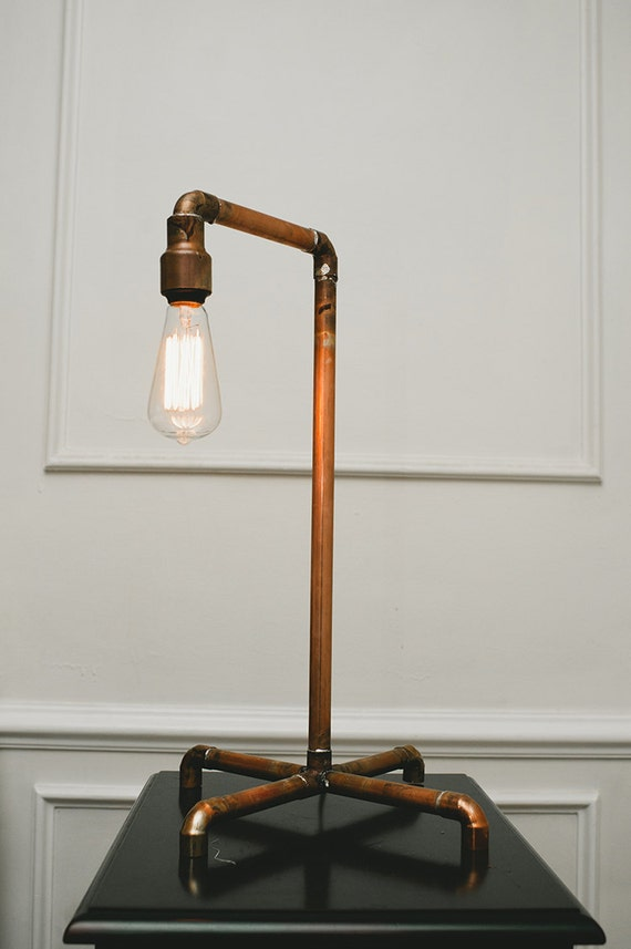 Items similar to copper pipe lamp with edison bulb copper for How to make a pipe lamp