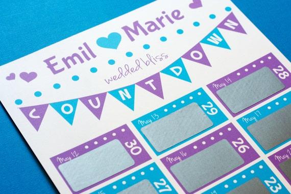 30 jour mariage compte rebours calendrier gratter - Compte a rebours mariage ...