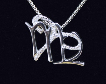 6 Aries and Virgo Silver Unity Pendant