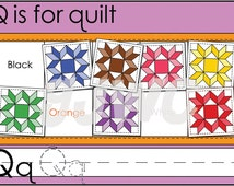 Q is for Quilt Alphabet File Folder Game - Downloadable PDF Only