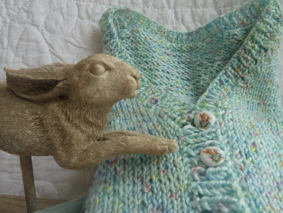 Knitting Pattern For Peter Rabbit Jumper : Vintage hand knit baby sweater with peter rabbit buttons for