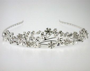 Kate Bridal Tiara with Bohemian Rhinestones -Wedding Tara-Bridal Hair Accessories - Silver Tiara - Rhinestone Tiara