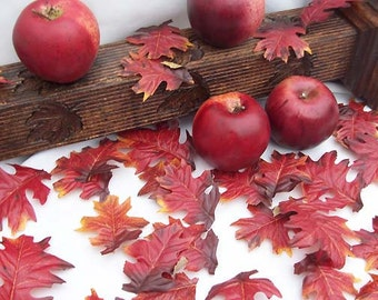 Rustic Indian Red Oak Silk Fall Leaves Leaf Autumn Wedding Decor Burnt Red