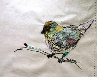 Contemporary textile Art - Bird 2. MOMO - Unique textile art. OOAK