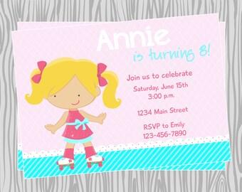 DIY - Girl Skating Birthday Party Invitation - Coordinating Items Available