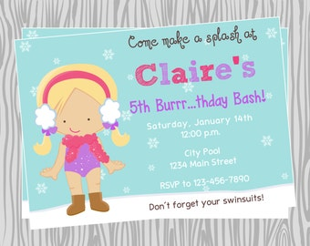 DIY - Girl Winter Pool Birthday Party Invitation - Coordinating Items Available