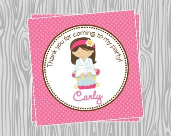 DIY - Girl Spa Birthday Favor Tags- Coordinating Items Available