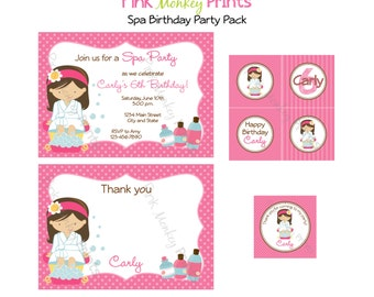 DIY - Girl Spa Birthday Party Pack - Coordinating Items Available