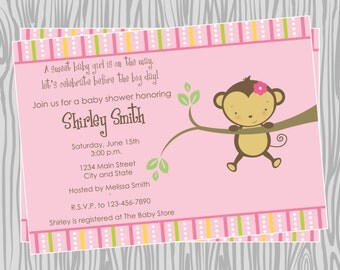 DIY - Baby Girl Hanging Mod Monkey Baby Shower or Birthday Invitation - Coordinating Items Available