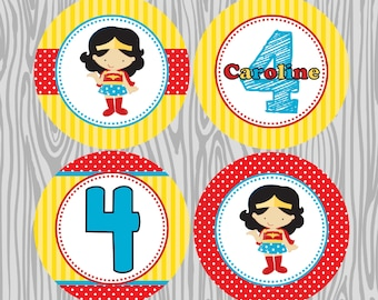 DIY - Girl Superhero-Wonder Woman Inspired  Birthday Cupcake Toppers- Coordinating Items Available
