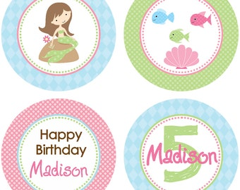 DIY - Girl Mermaid Under the Sea Party Birthday Cupcake Toppers - Coordinating Items Available