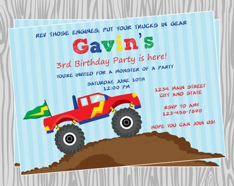 DIY - Boy Monster Truck Birthday Party Invitation - Coordinating Items Available