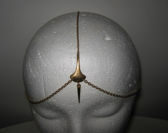 Boho Bollywood style 3 strand gold chain head piece with spike detail