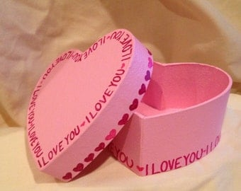 Valentines Day Heart Shaped Hand Decorated Pink Trinket Jewelry Gift Box