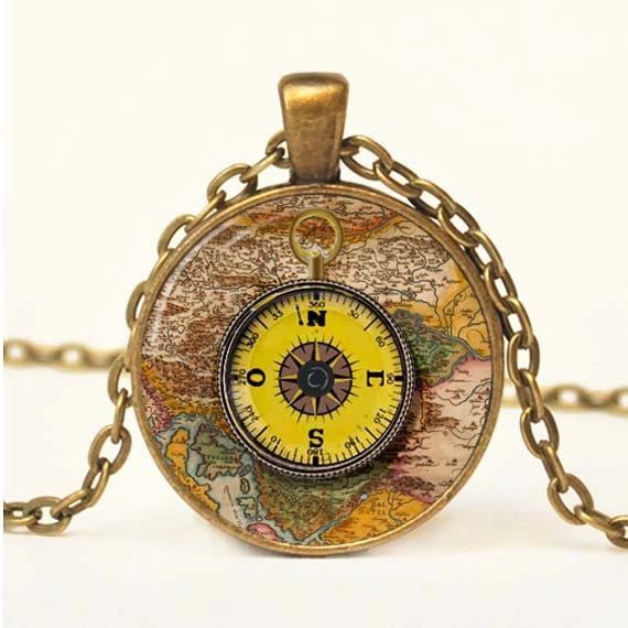 Vintage Compass Pendant Photo Pendant Vintage Necklace