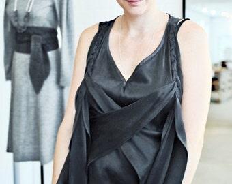 silkdress: flowing satin dress in black