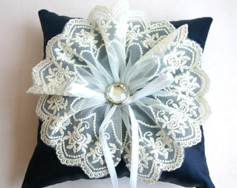 Cubic lace wedding ring pillow