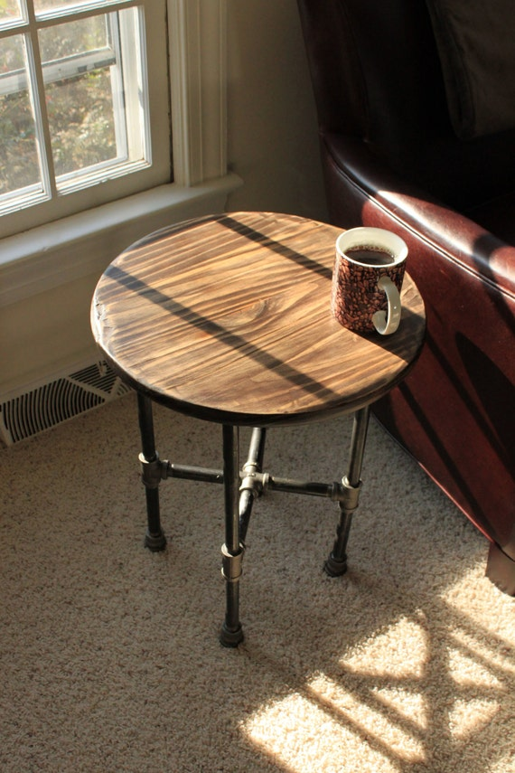 Items similar to hand scraped industrial iron pipe table for Round end table diy