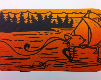 "SALE: Mouse, Decaffeinated Designs ""Tea at Sea"" (8x10) Hand Printed Sail Boat Lino cut Print"