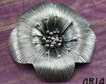 KAREN HILL TRIBE: 60mm Karen Hill Tribe Flower Pendant Thai Fine Silver (1)