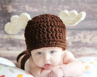 Christmas Winter Brown MOOSE Beanie Hat Boy or Girl Many Sizes preemie, newborn,0-3 month, 3-6 month,6-12 month,1-3 yr christmas moose hat