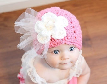 Pretty in Pink Shell Stitch hat with white rose & dainty tulle preemie, newborn,0-3 month, 3-6 month,6-12 month, 1-3 yr, 4-12yr ladies hat