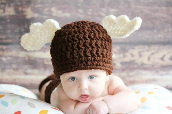 CROCHET Winter Brown MOOSE Beanie Hat Boy or Girl Many Sizes