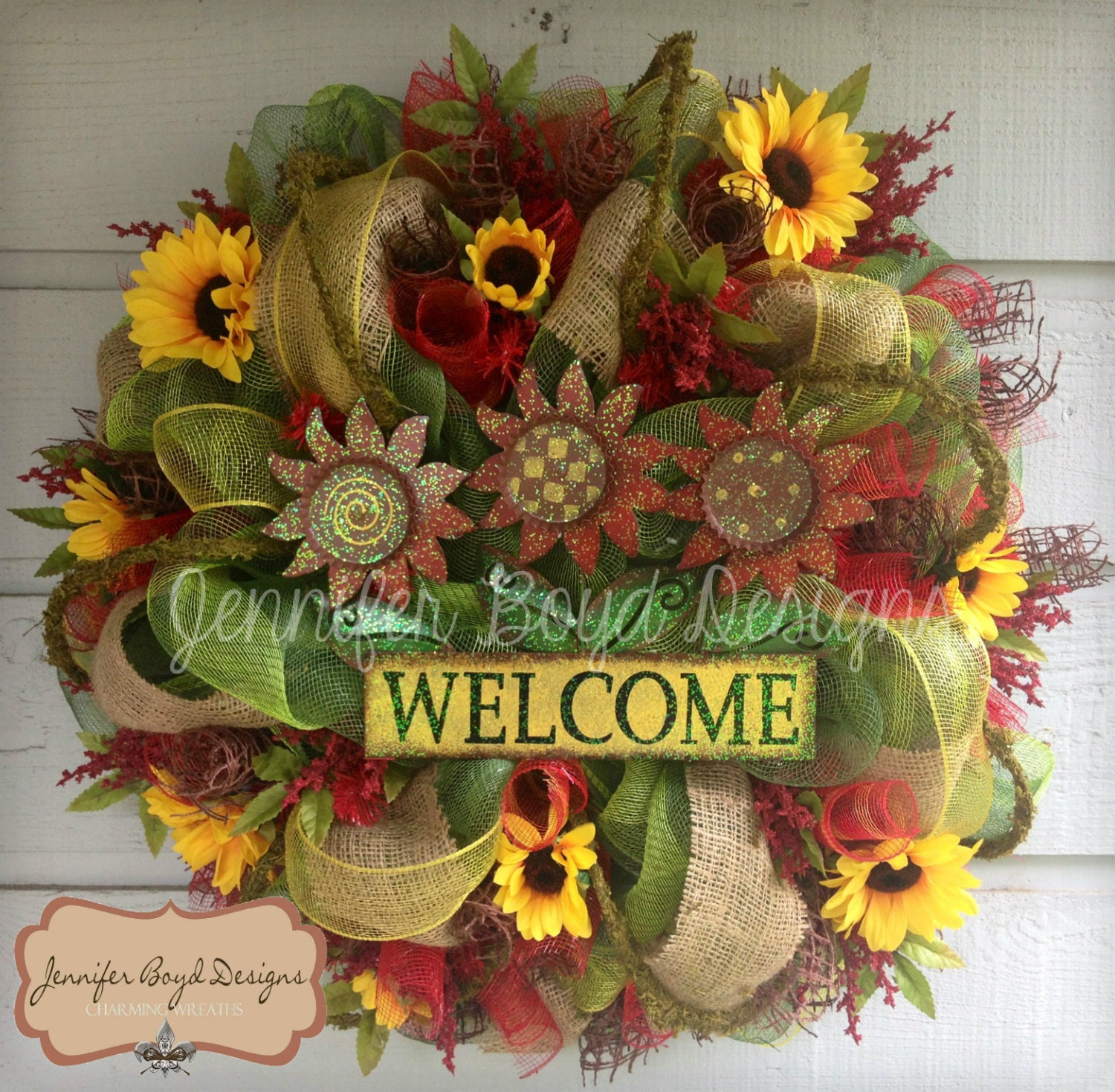 Sunflower Mesh Wreath With Welcome Sign Sunflowers Moss